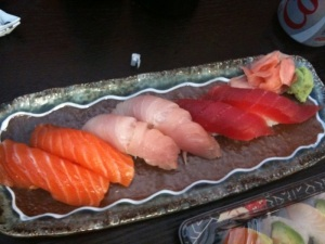 Salmon, Yellowtail, Tuna nigiri