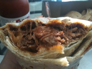 Tito's Tacos - Inside of their meat burrito sans beans